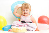 Little girl celebrating second birthday — Stok fotoğraf