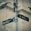 Street signs of Wall street and Broad street — Stock Photo
