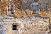 Windows in old ruined wall — Stock Photo