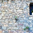 Mediterranean stone facade with window and flowers — Stock Photo