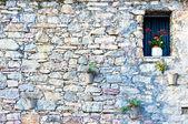 Středomořská kamenná fasáda s okna a květiny — Stock fotografie
