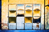Warehouse facade with sun reflections — Stock Photo