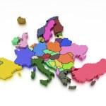 representación 3D de un mapa de Europa en colores brillantes — Foto de Stock