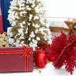 Stock Photo: Red holiday box with christmas tree and ornament