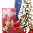Set of holiday boxes with christmas tree and ornament — Stock Photo