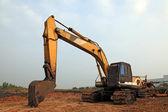Excavator Loader with backhoe standing in sandpit — Stock Photo