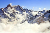 Landscape of Mist at Jungfraujoch, part of Swiss Alpine Alps at — Stock Photo