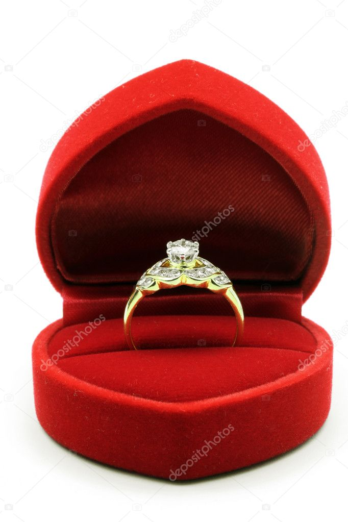 Luxury Diamond Wedding Ring in Red Velvet Silk Box using for Engagement for Love in Valentine Holiday Concept  Stock Photo #11146040
