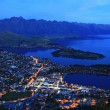 Aerial view of Queenstown at dusk — Stock Photo