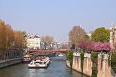 Tourist cruise in River Seine Paris — Stock Photo
