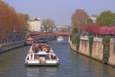 Tourist cruise boat in Paris France — Stock Photo