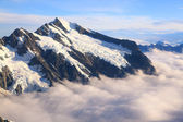 Mountain Cook Peak with mist landscape from Helicopter, New Zeal — Stock Photo