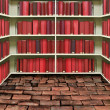 Red hard cover book on shelf in old brick library — Stock Photo