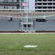 Perspective of penalty spot of soccer field — Stock Photo