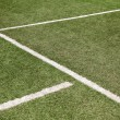 White line on soccer football field — Stock Photo