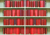 Red old hardcover books — Stock Photo