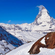 Stock Photo: Landscape of Matterhorn peak with Red rock located at Gornergrat