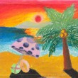 Tropical beach free hand drawing — Stock Photo