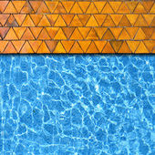 Triangle stone pavement with pool edge background — Stock Photo