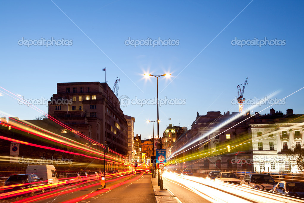 London Cityscape with Road Light Trail at dusk using for City Lifestyle transportation  Stock Photo #11220318