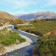Curve river to alpine alps mountain at Arthur's Pass National Pa — Stock Photo