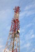 Telecommunication Radio antenna Tower with blue sky — Stock Photo
