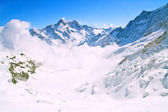 Landscape of Mist at Jungfraujoch, part of Swiss Alpine Alps and — Stock Photo