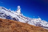 Landscape of Matterhorn peak with dry meadow located at Gornergrat in Switzerland, Vertical — Stock Photo
