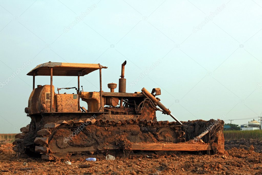 Construction bulldozer on sandpit  Stock Photo #11239086