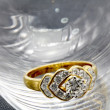 Luxury Diamond Wedding Ring in Glass — Stock Photo