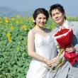Portrait of bride and groom on sunflower field — Stock Photo #11363455