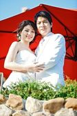Romantic bride and groom — Stock Photo