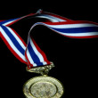 Stock Photo: Isolated Blank gold medal with tricolor ribbon