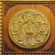 Row and circle of golden buddhstatue — Stok Fotoğraf #12199324