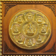 Row and circle of golden buddhstatue — Stockfoto #12199324