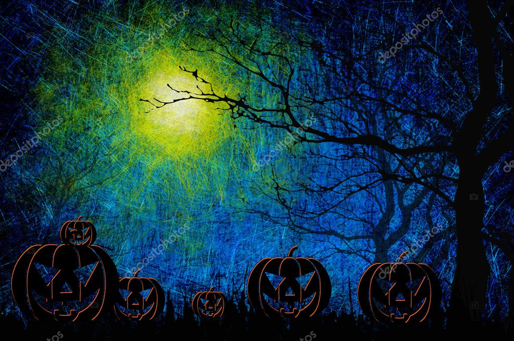 Grunge textured Halloween night background  Stock Photo #12244175