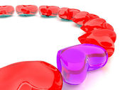 Transparent purple&red heart — Stock Photo
