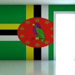 Постер, плакат: Dominica flag on empty room