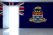 Cayman Islands flag on empty room — Foto Stock