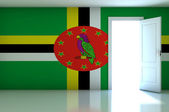 Dominica flag on empty room — Stok fotoğraf