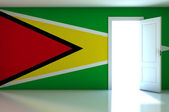 Guyana flag on empty room — Zdjęcie stockowe