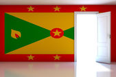 Grenada flag on empty room — Zdjęcie stockowe