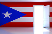 Puerto Rico flag on empty room — Stock Photo