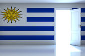 Uruguay flag on empty room — Stock Photo