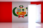 Peru flag on empty room — Zdjęcie stockowe