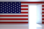 USA flag on empty room — Stockfoto