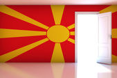 Macedonia flag on empty room — Zdjęcie stockowe