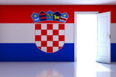 Croatia flag on empty room — Zdjęcie stockowe