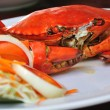 Undressed roasted crabs prepared on plate — Stock Photo