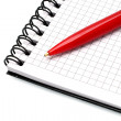 Notepad with ball pen — Stock Photo